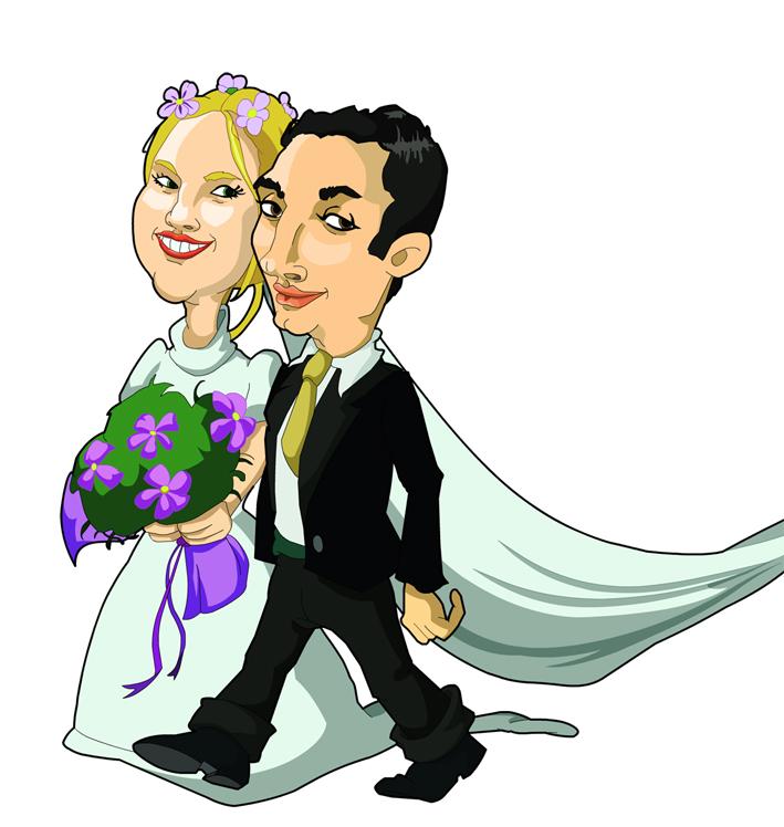 3 caricatura sposi matrimonio